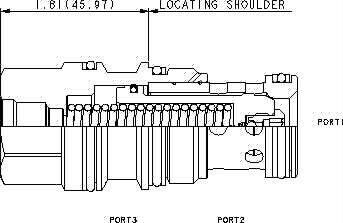 LOHD8 : Öffnet durch Entlastung, spring-biased closed, Nicht druckausgeglichene Sitzbauweise  2/2-Wege Logikelement  mit Steueröl von Anschluss 1 oder 2 und Einschraubbohrung für Vorsteuerventil
