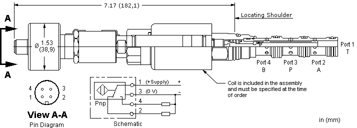 DNCAZ : 4-way, 2-position, solenoid-operated directional spool valve with closed transition and position switch