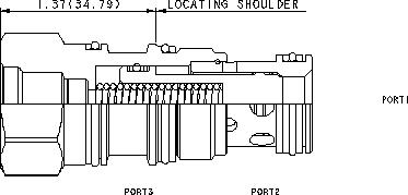 LOFB8 : Öffnet durch Entlastung, spring-biased closed, Nicht druckausgeglichene Sitzbauweise  2/2-Wege Logikelement  mit Steueröl von Anschluss 2 und Einschraubbohrung für Vorsteuerventil