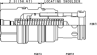 LOJB8 : Öffnet durch Entlastung, spring-biased closed, Nicht druckausgeglichene Sitzbauweise  2/2-Wege Logikelement  mit Steueröl von Anschluss 2 und Einschraubbohrung für Vorsteuerventil