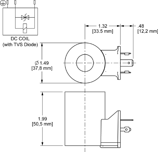 740212D : 740 Series, 12 VDC, high-power bobina con ISO/DIN 43650, Form A conector con TVS Diode