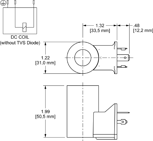 740228L : 740 Series, 28 VDC, low-power bobina con ISO/DIN 43650, Form A conector without TVS Diode