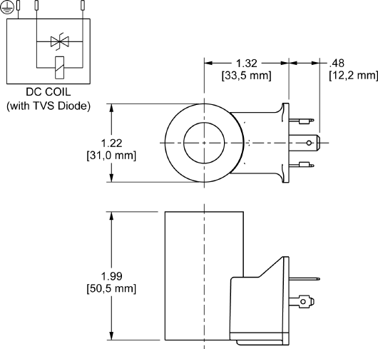 740212LD : 740 Series, 12 VDC, low-power 线圈 带 ISO/DIN 43650, Form A 接头 带 TVS Diode