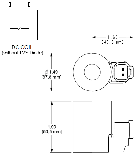 740912 : 740 Series, 12 VDC, high-power coil with Deutsch DT04-2P connector without TVS Diode