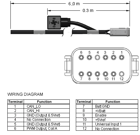 991721600 : XMD Series, 6M, 12-pin Deutsch prototype 电缆 single-output 带 ISO/DIN 43650, Form A lead
