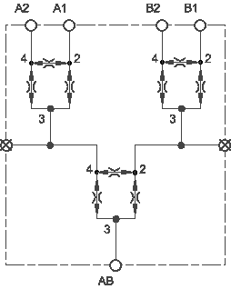 Synchronizing flow divider-combiner assembly