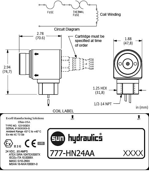 777HN24AA : 24 VDC explosion proof 线圈, 两口的接线, 1/2