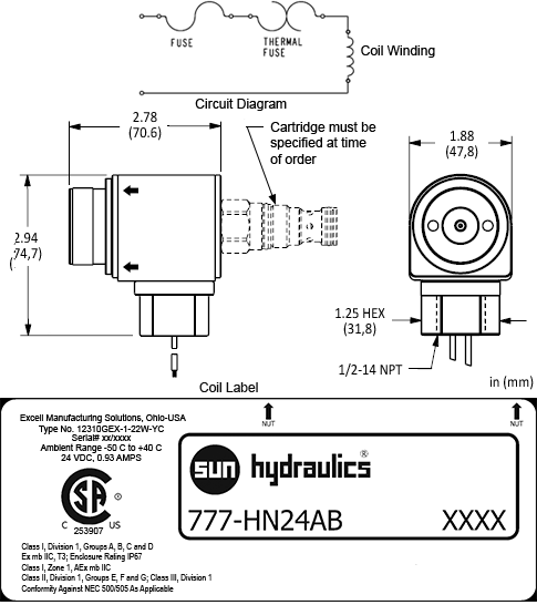 777HN24AB : 24 VDC explosion proof 线圈, 两口的接线, 1/2