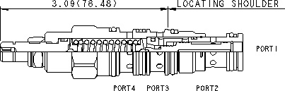 DRBR : 3-way, direct-acting, directional valve with drain to port 4 (3 to 4 open, port 2 blocked)
