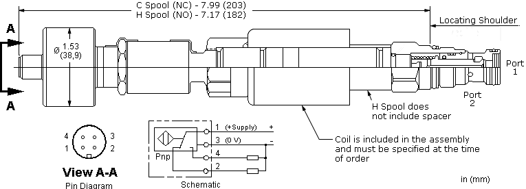 DTCAZ : 2-way, direct-acting, solenoid-operated directional blocking poppet valve with overlap and position switch