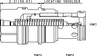 LOJD8 : Ouverture par déblocage du drain, spring-biased closed, à clapet non équilibré élément logique avec source du pilotage à l'orifice 1 ou 2 et Cavité de pilotage T-8A intégrée