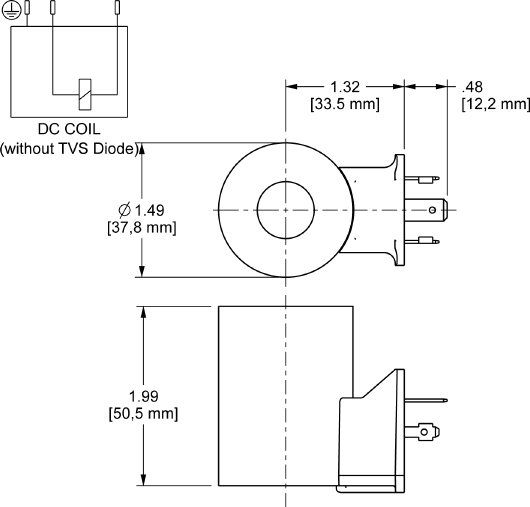 740224 : 740 Series, 24 VDC high-power coil with ISO/DIN 43650, Form A connector without TVS Diode