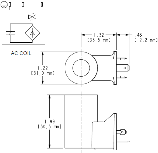 740211L : 740 Series, 115 VAC 50/60 Hz, low-power coil with ISO/DIN 43650, Form A connector with TVS Diode
