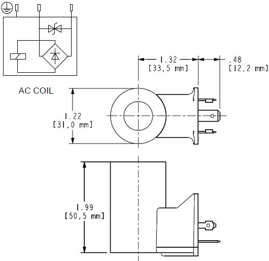 740211L : 740 Series, 115 VAC 50/60 Hz, low-power bobina con ISO/DIN 43650, Form A conector con TVS Diode