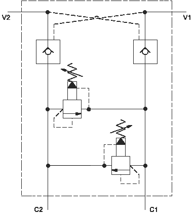 Dual pilot-to-open check assembly with cross-port relief