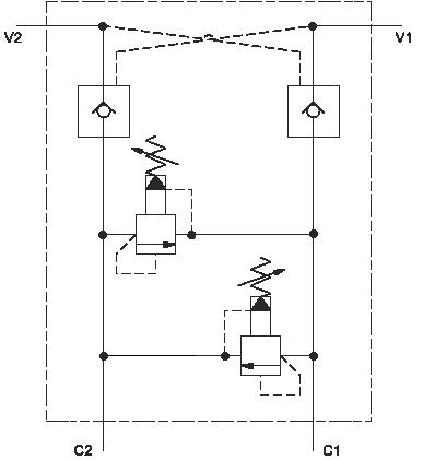 Double ouvert par pilotage clapet anti-retour assemblage with cross-port relief